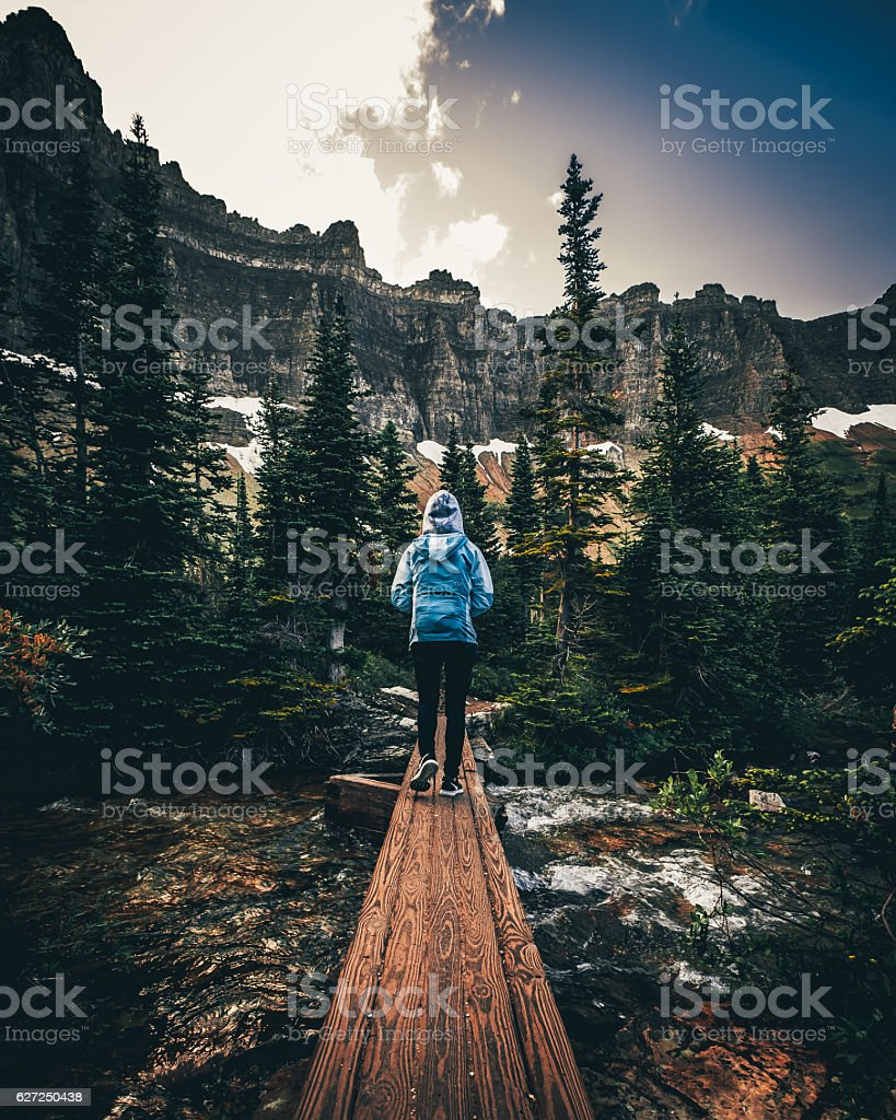 Hike in Glacier National Park, Montana royalty-free stock photo