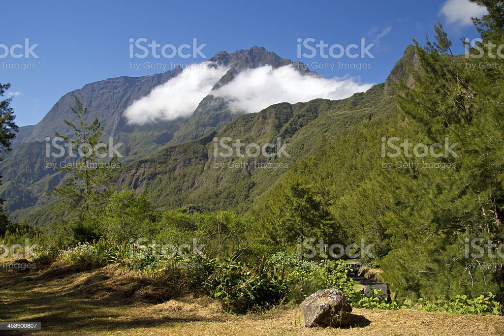 hike in Reunion stock photo