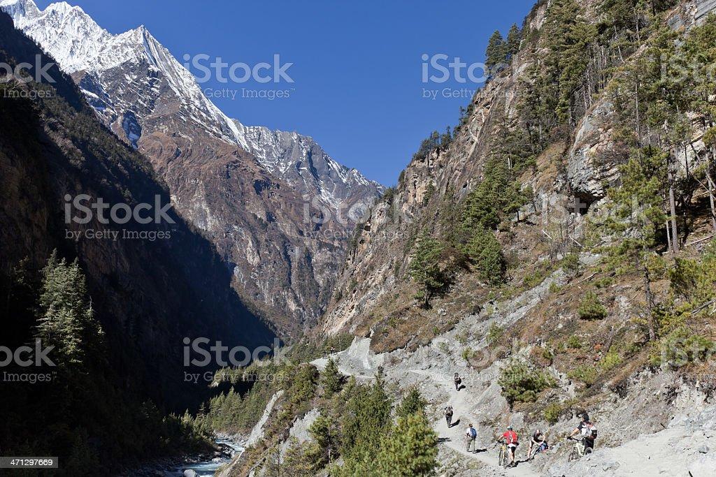 Hike&bike at Marsyangdi Valley, Nepal stock photo