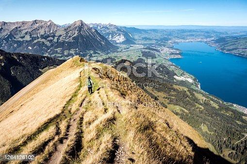 istock Hikeon the ridge from Morgenberghorn towards Aeschi, Thun, Bernese Oberland, Switzerland 1264126102