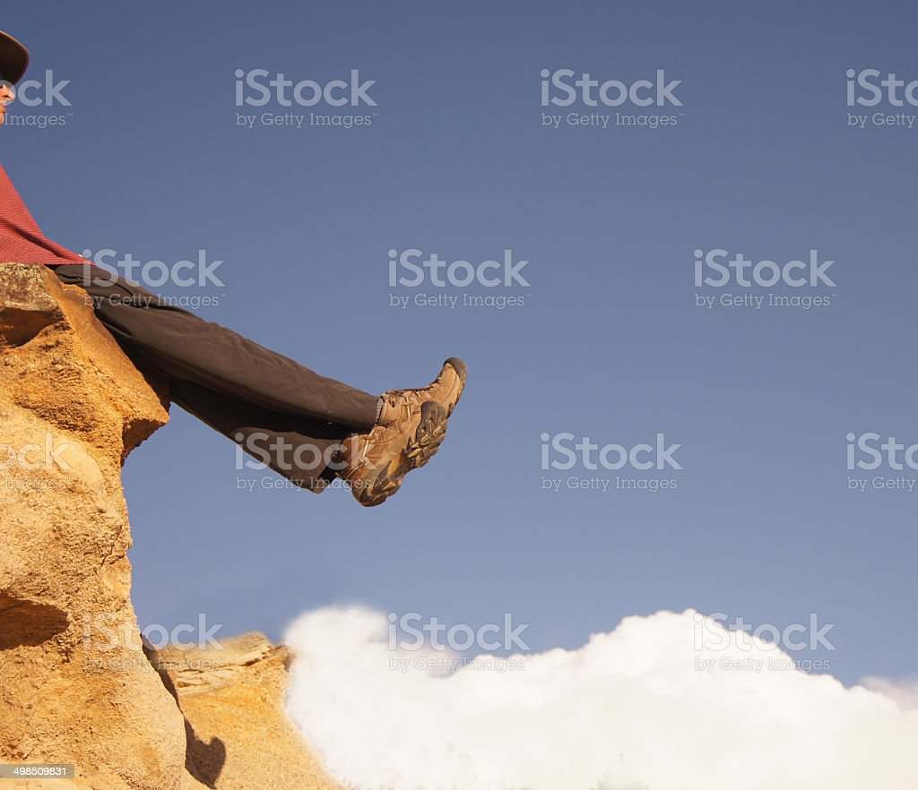 Hiker Above the Clouds! royalty-free stock photo