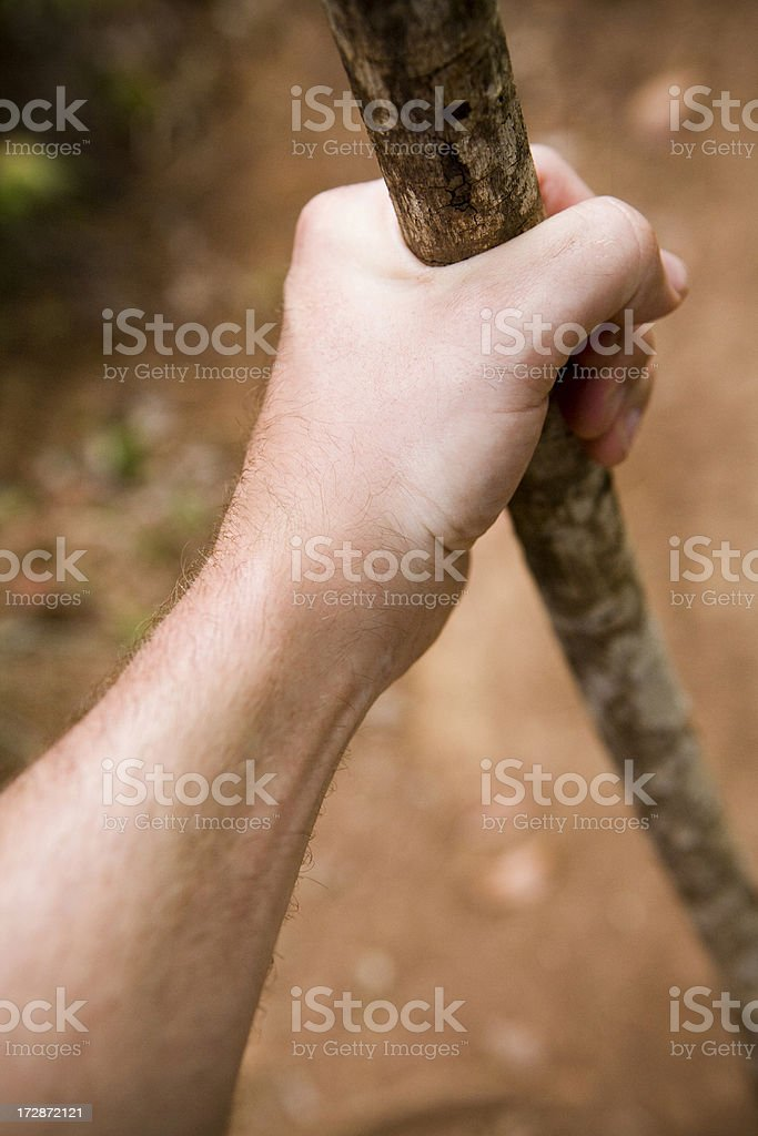hiker and hiking stick stock photo