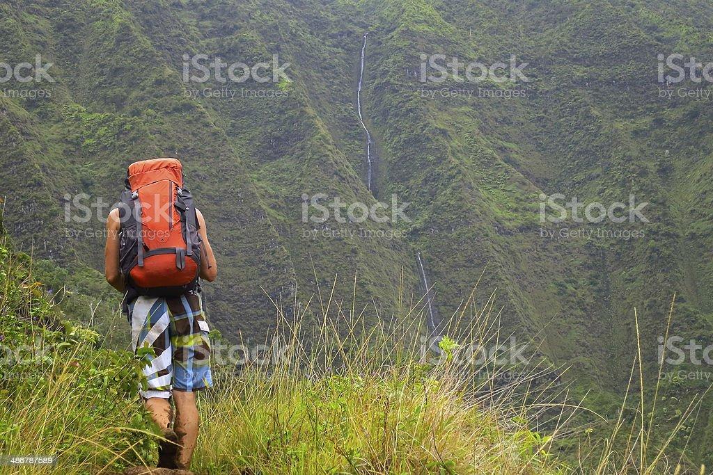 Hiker and Waterfall stock photo