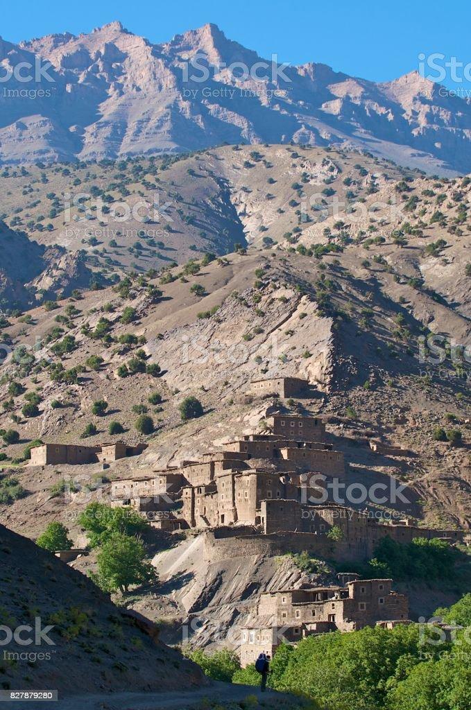 Hiker at ancient city stock photo