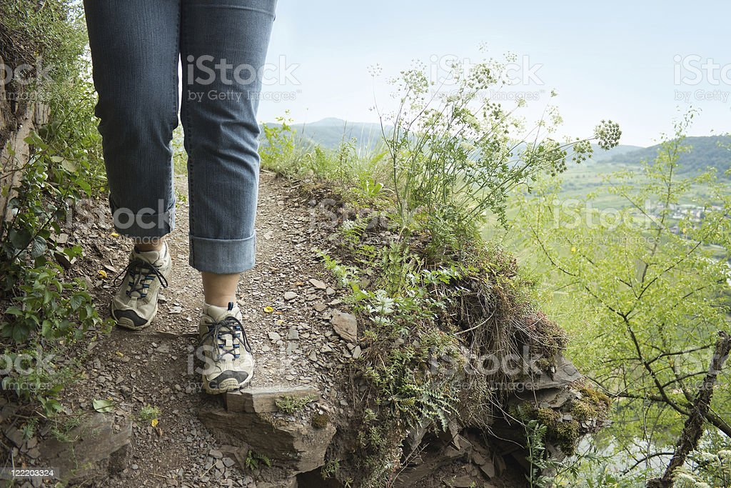 Hiker at Calmont trail, Mosel, Germany stock photo