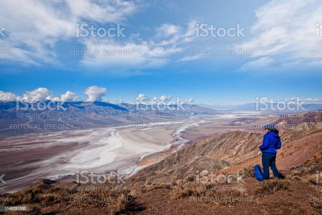 Hiker at Dante's View stock photo