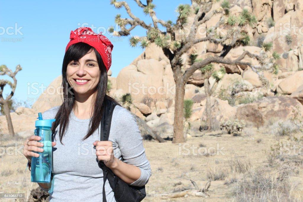 Hiker at Joshua Tree National Park California stock photo