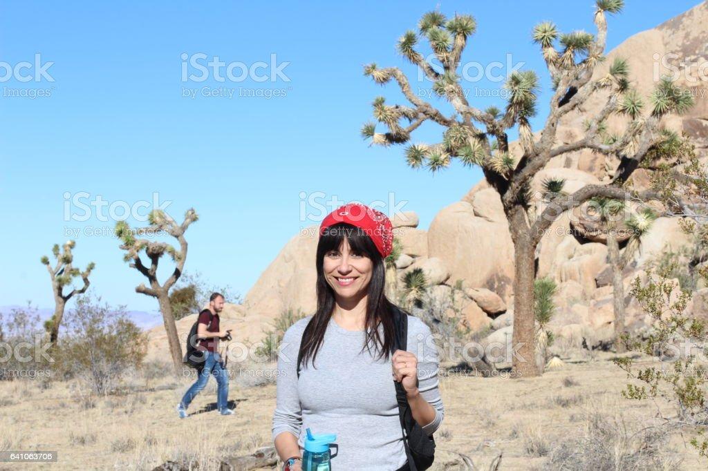Hiker at Joshua Tree National Park stock photo