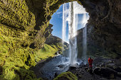 Blue Sky, Famous Place, Waterfall, Iceland