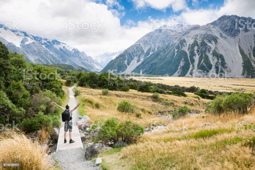 Hiker at Mount Cook in the Southern Alps in New Zealand royalty-free stock photo
