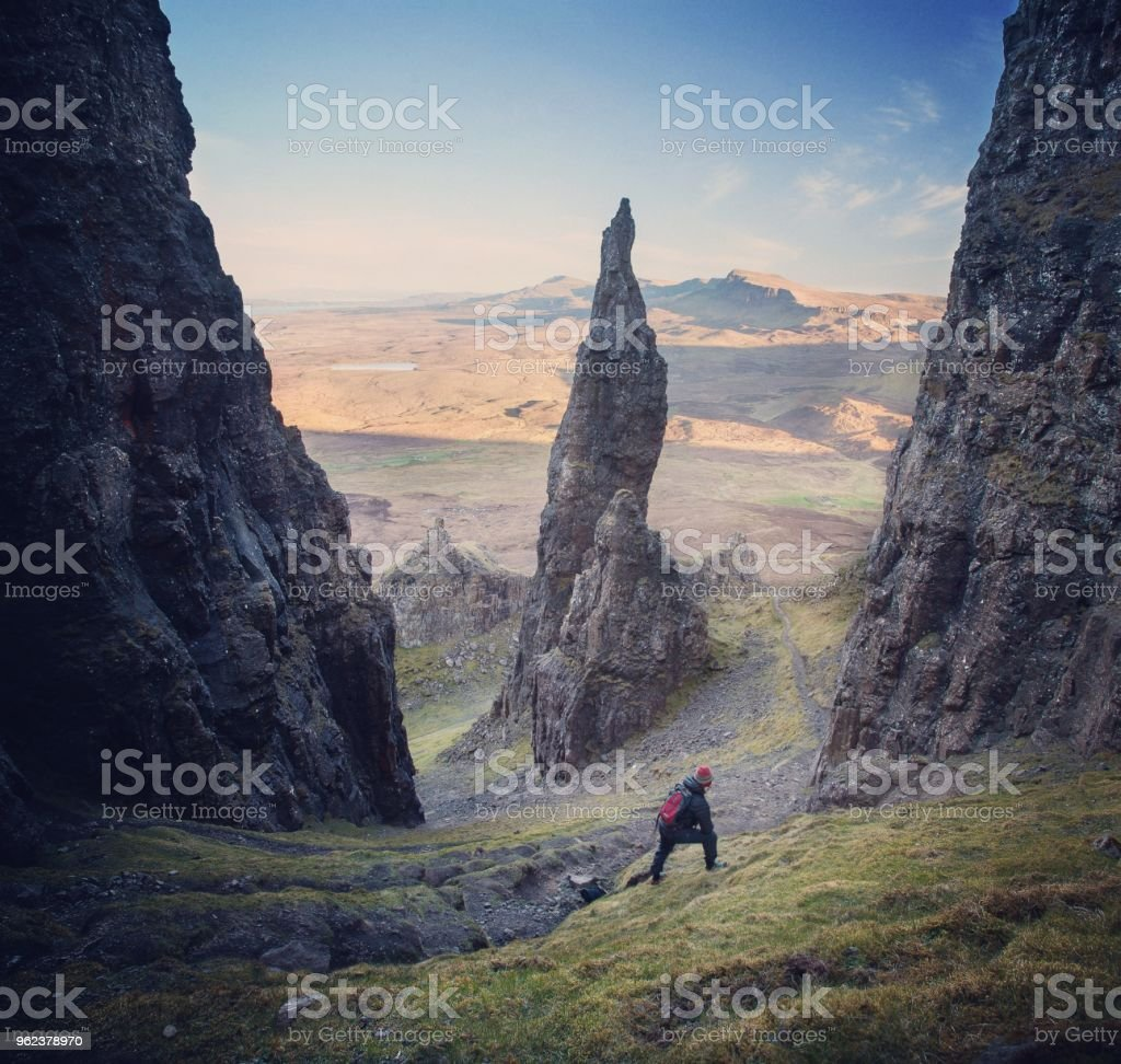 Hiker at the Needle Pinnicle. stock photo
