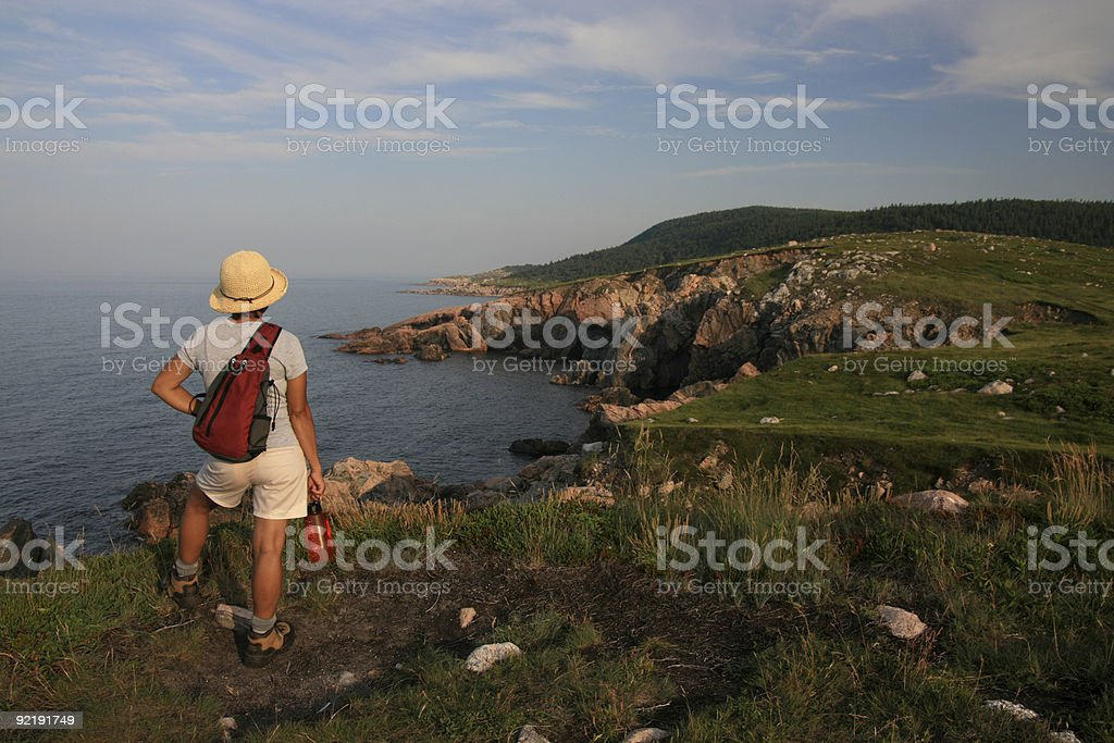 Hiker at White Point stock photo