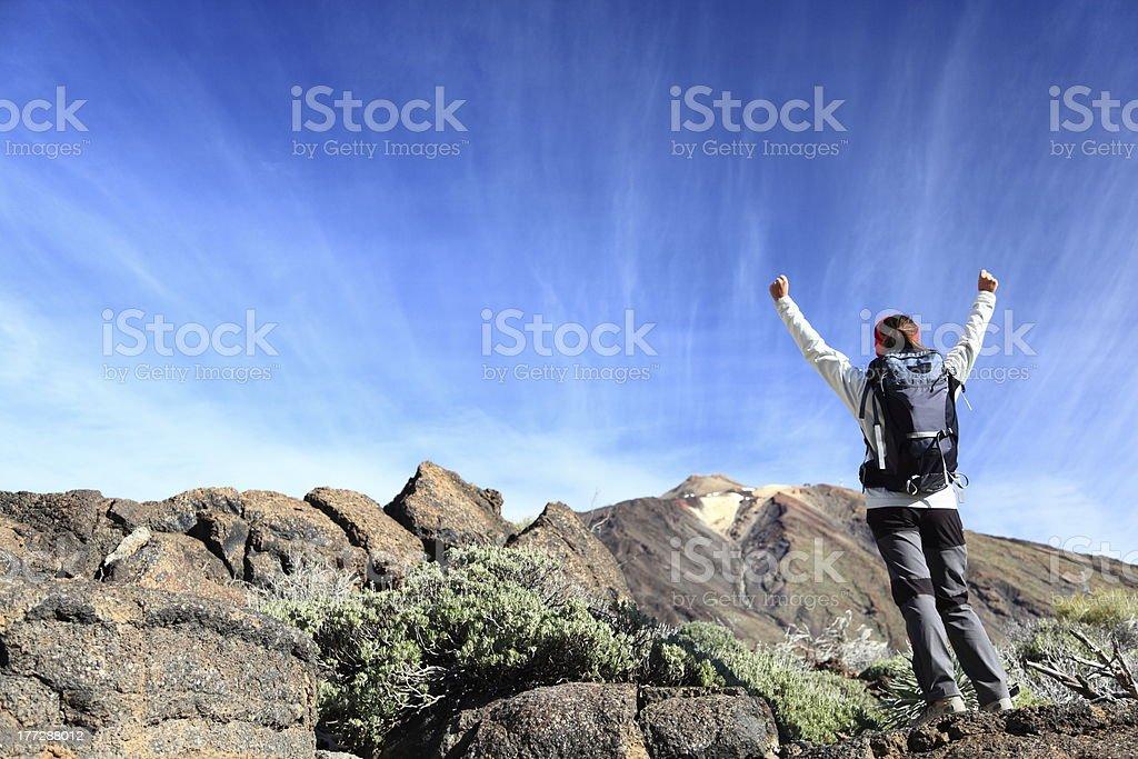 Hiker cheering royalty-free stock photo