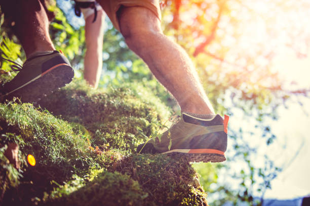 hiker climbing on rock - занятия на открытом воздухе стоковые фото и изображения