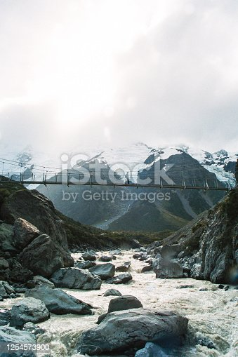 Female Hiker crossing a hanging footbridge over a glacier river with snowcapped mounatins and a glacier behind