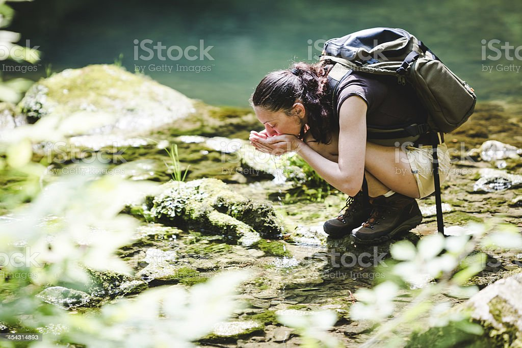 hiker drinking water from a forest brook royalty-free stock photo
