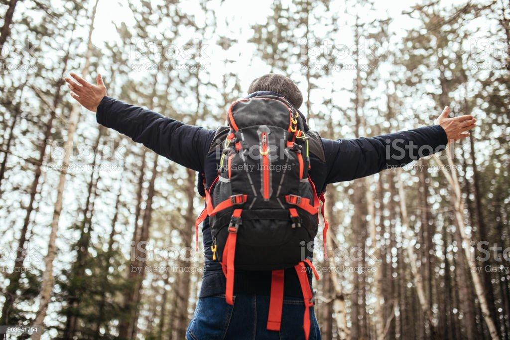 Hiker enjoying in nature - Royalty-free Active Seniors Stock Photo