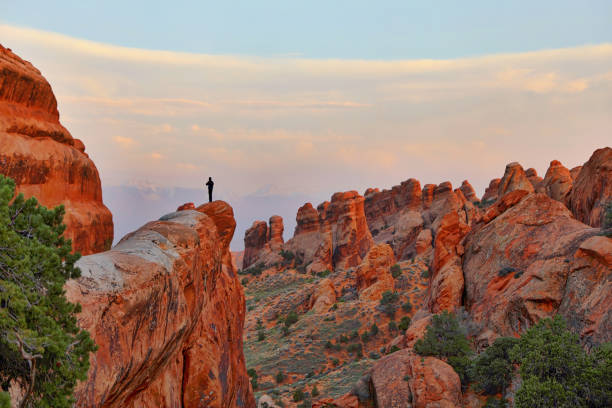 Hiker enjoying the Double O Arch Trail. Arches National Park Hiker at the top of a summit in Arches National Park. Double O Arch Trail. arches national park stock pictures, royalty-free photos & images
