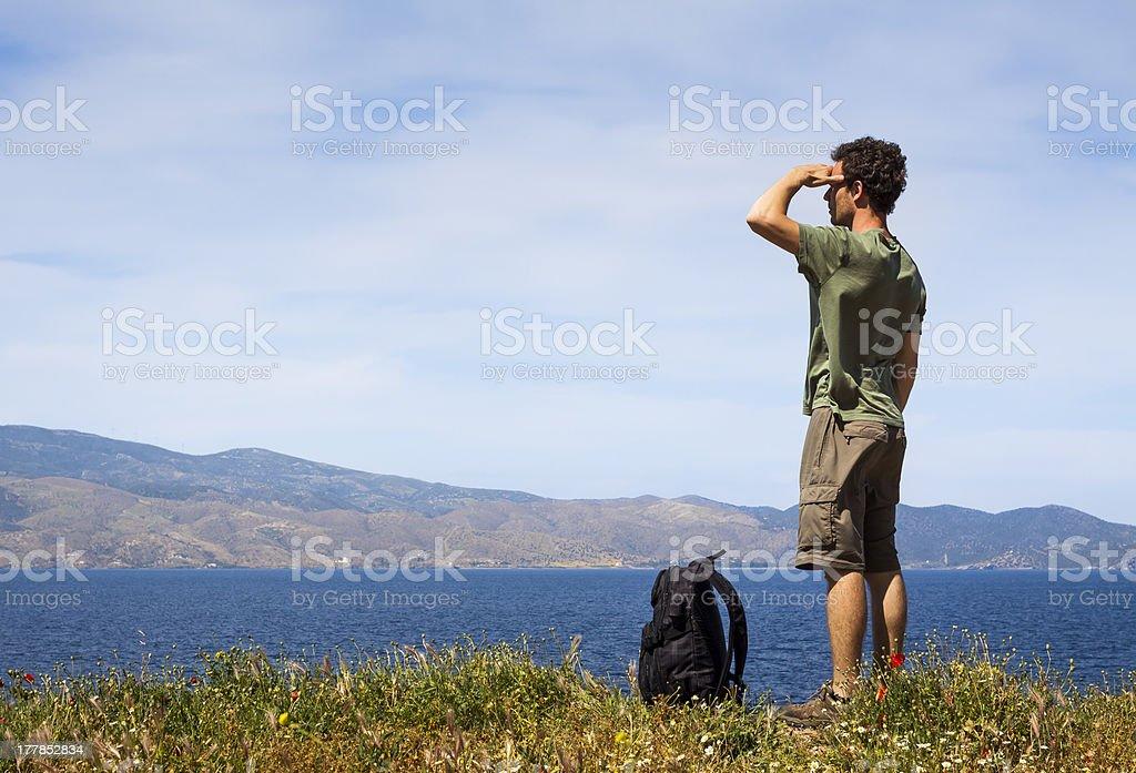 Hiker enjoying the view royalty-free stock photo