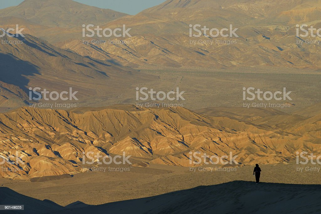 Hiker Exploring Death Valley Desert stock photo