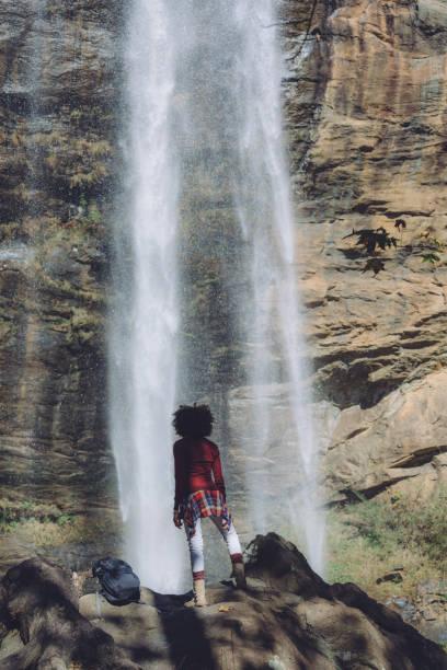 hiker exploring the trails stock photo