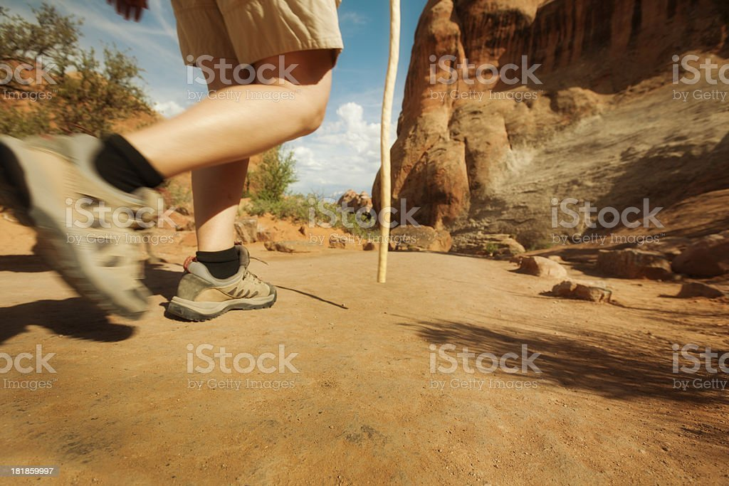 Hiker Hiking Trail in National Park of American Southwest royalty-free stock photo