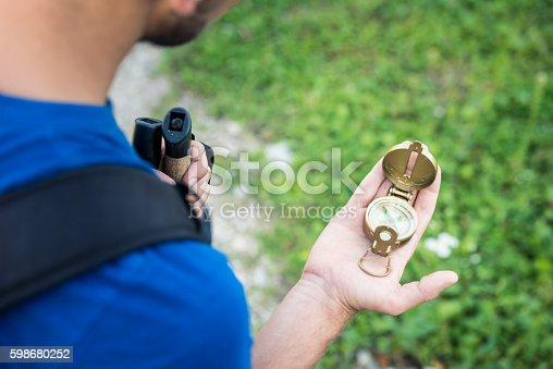 Hiker holding a compass