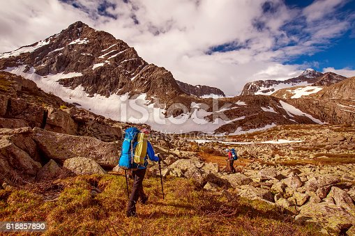 istock Hiker in Altai mountains, Russian Federation 618857890
