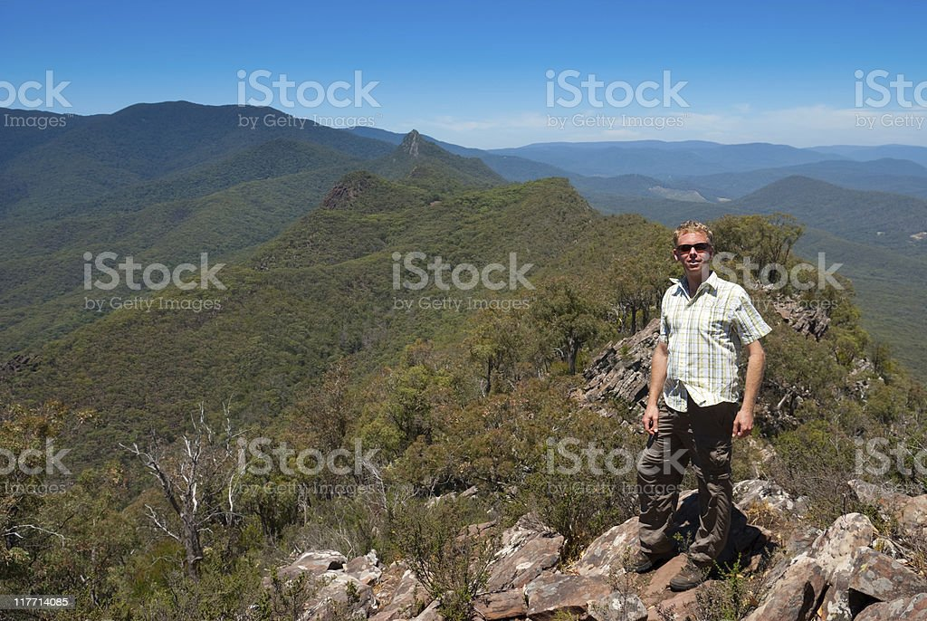 Hiker in Cathedral Ranges stock photo