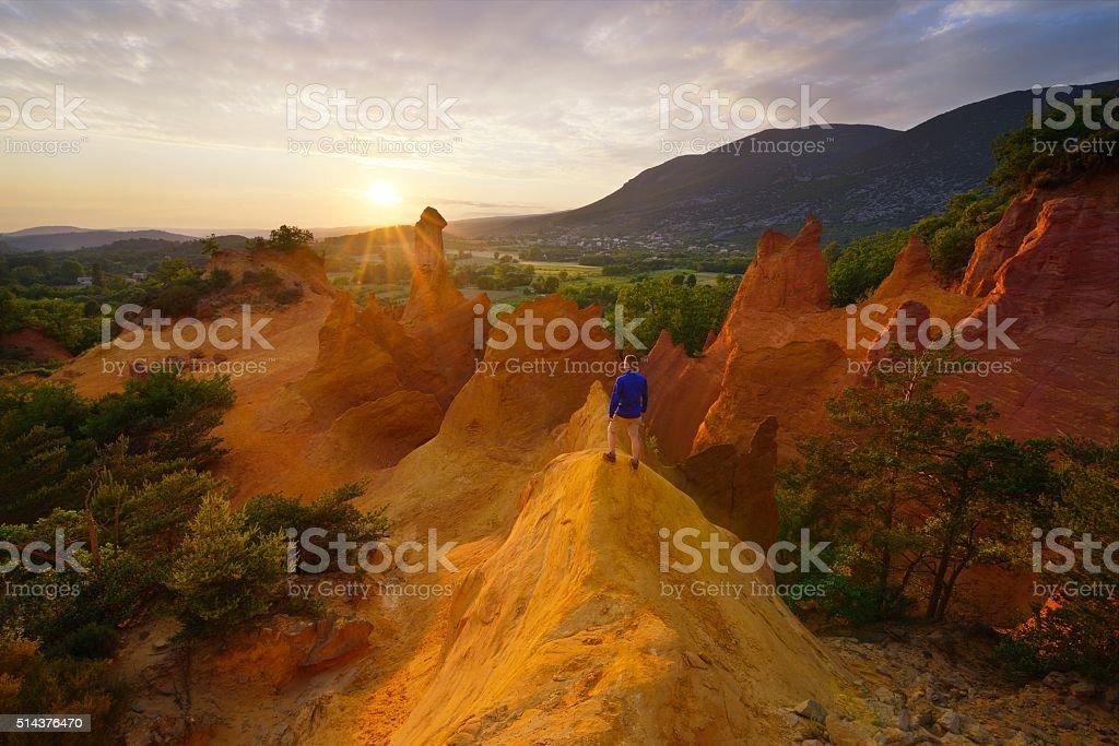Hiker in Colorado Provençal stock photo