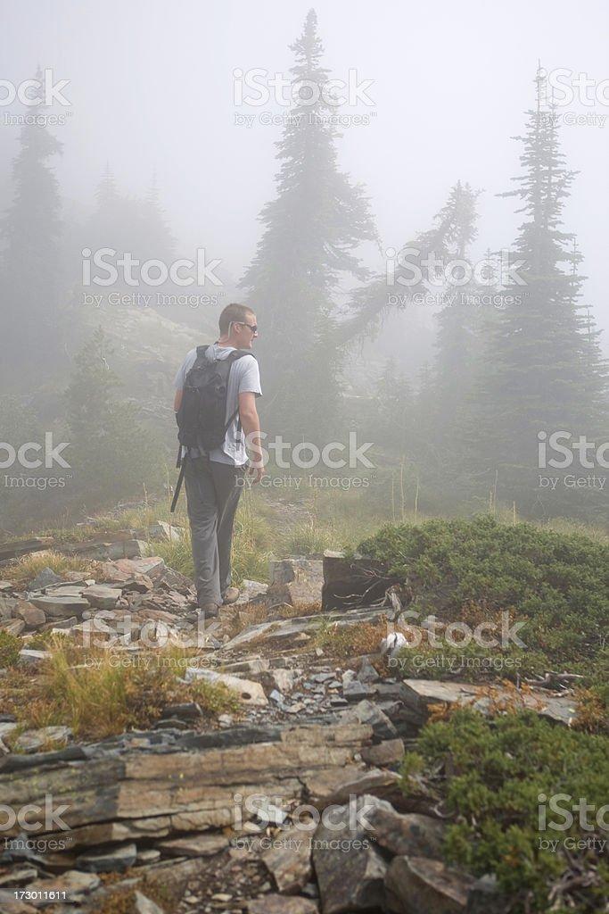 Hiker in Fog stock photo