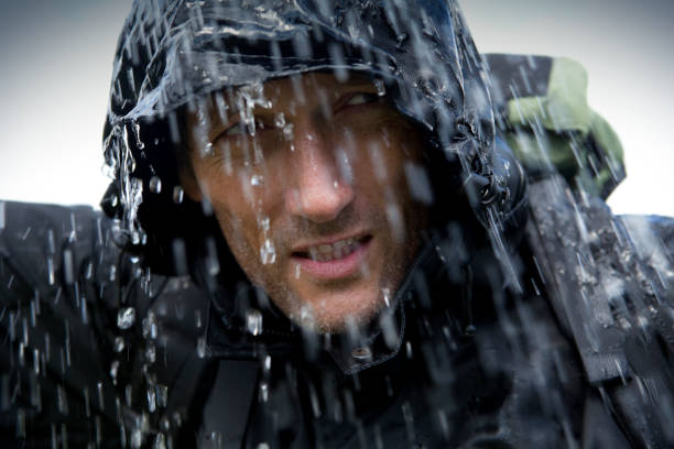 hiker in heavy rain storm - drenched stock pictures, royalty-free photos & images