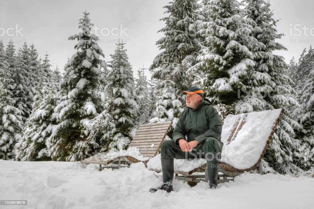 Hiker in snowy black forest - Royalty-free Adult Stock Photo