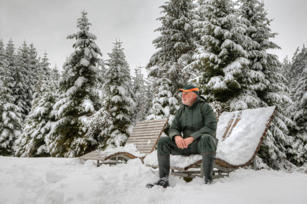 Hiker in snowy black forest stock photo
