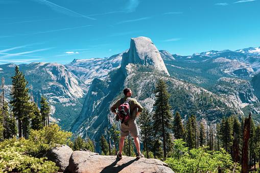 Hiker in Yosemite National Park California