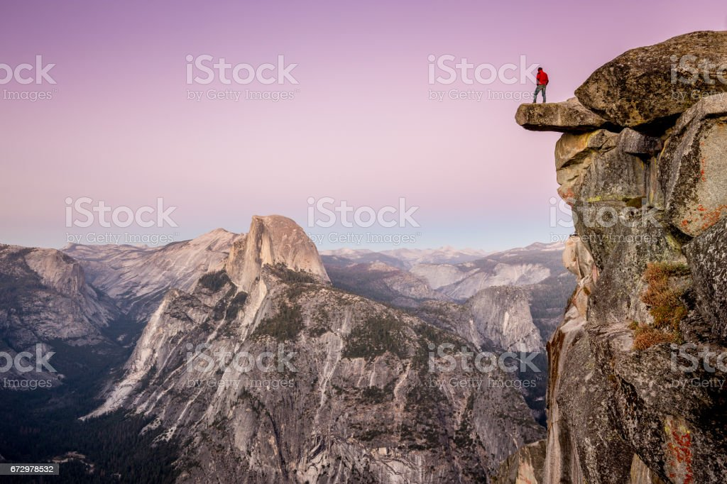 Hiker in Yosemite National Park, California, USA stock photo