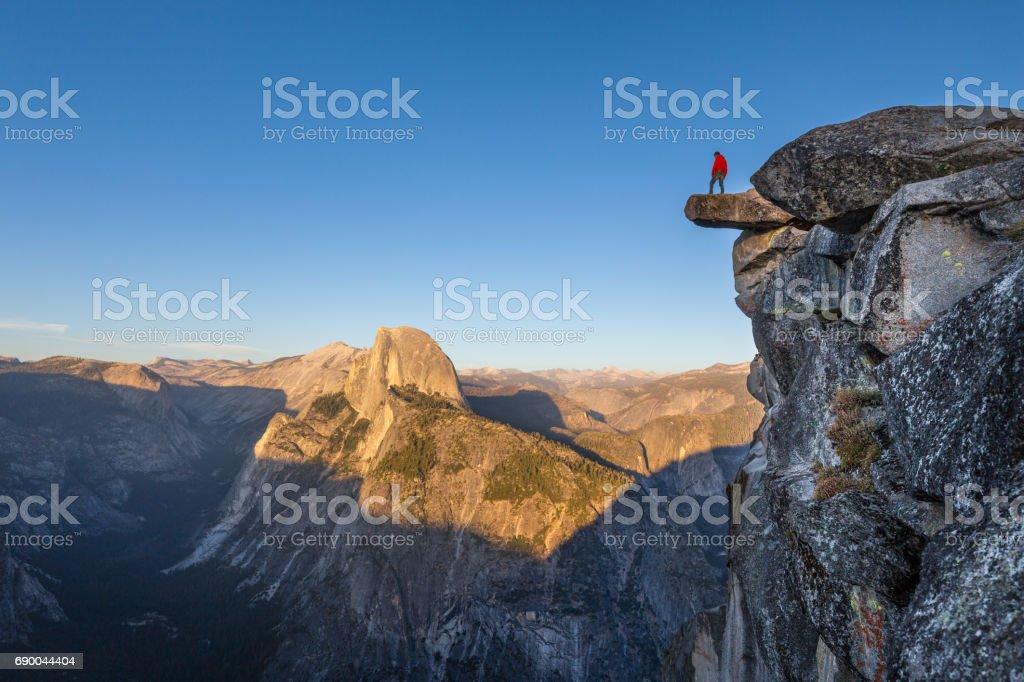 Hiker in Yosemite National Park, California, USA stock photo
