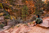 Male hiker on East Rim trail in Zion national park.