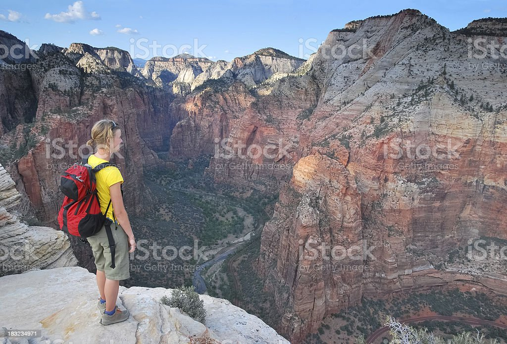 Hiker in Zion royalty-free stock photo