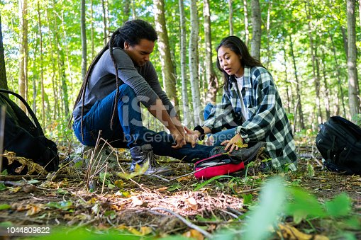 istock Hiker injured in the woods 1044809622