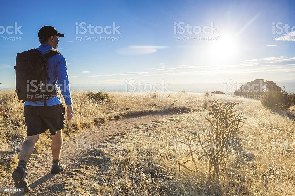hiker landscape stock photo