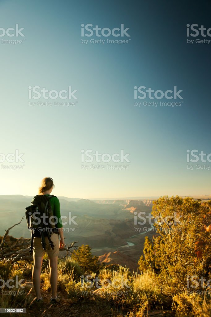Hiker Looking Out Over Canyon royalty-free stock photo