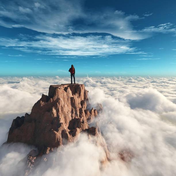 turysta na szczycie góry. jest to ilustracja renderowania 3d - klif zdjęcia i obrazy z banku zdjęć