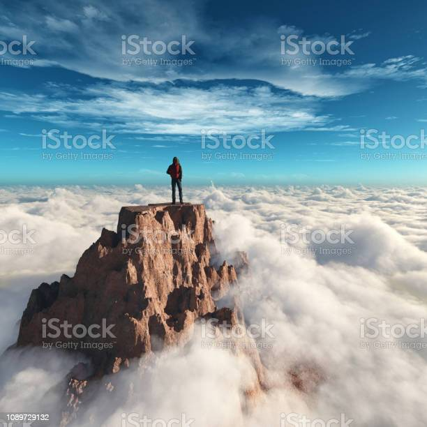 Photo of Hiker man at the top of the mountain.This is a 3d render illustration