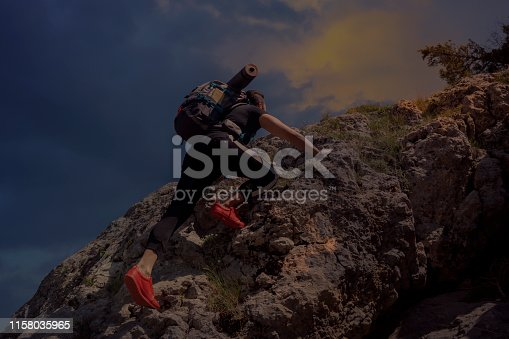 Mountain Man Success Concept on high Rock