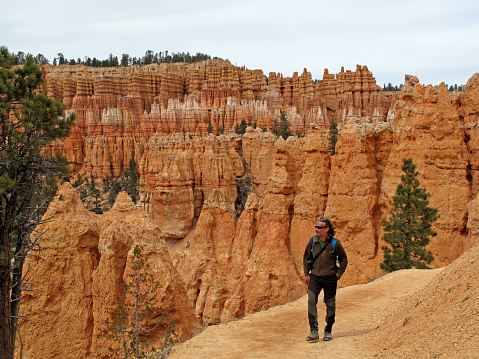 Hiker on a trail in Bryce Canyon National Park, Utah, United States, USA