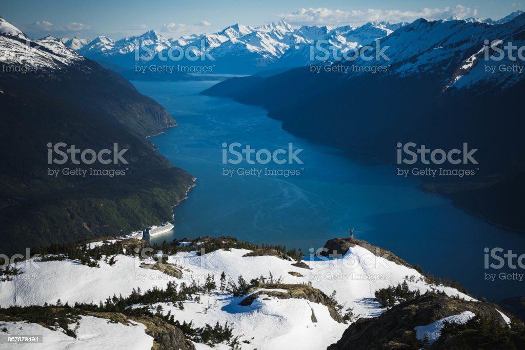 Hiker on AB Mountain stock photo