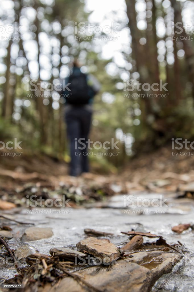Hiker on Icy Trail stock photo