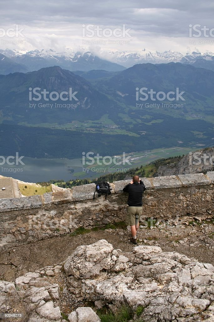 Hiker on Mt. Pilatus Overlook royalty-free stock photo