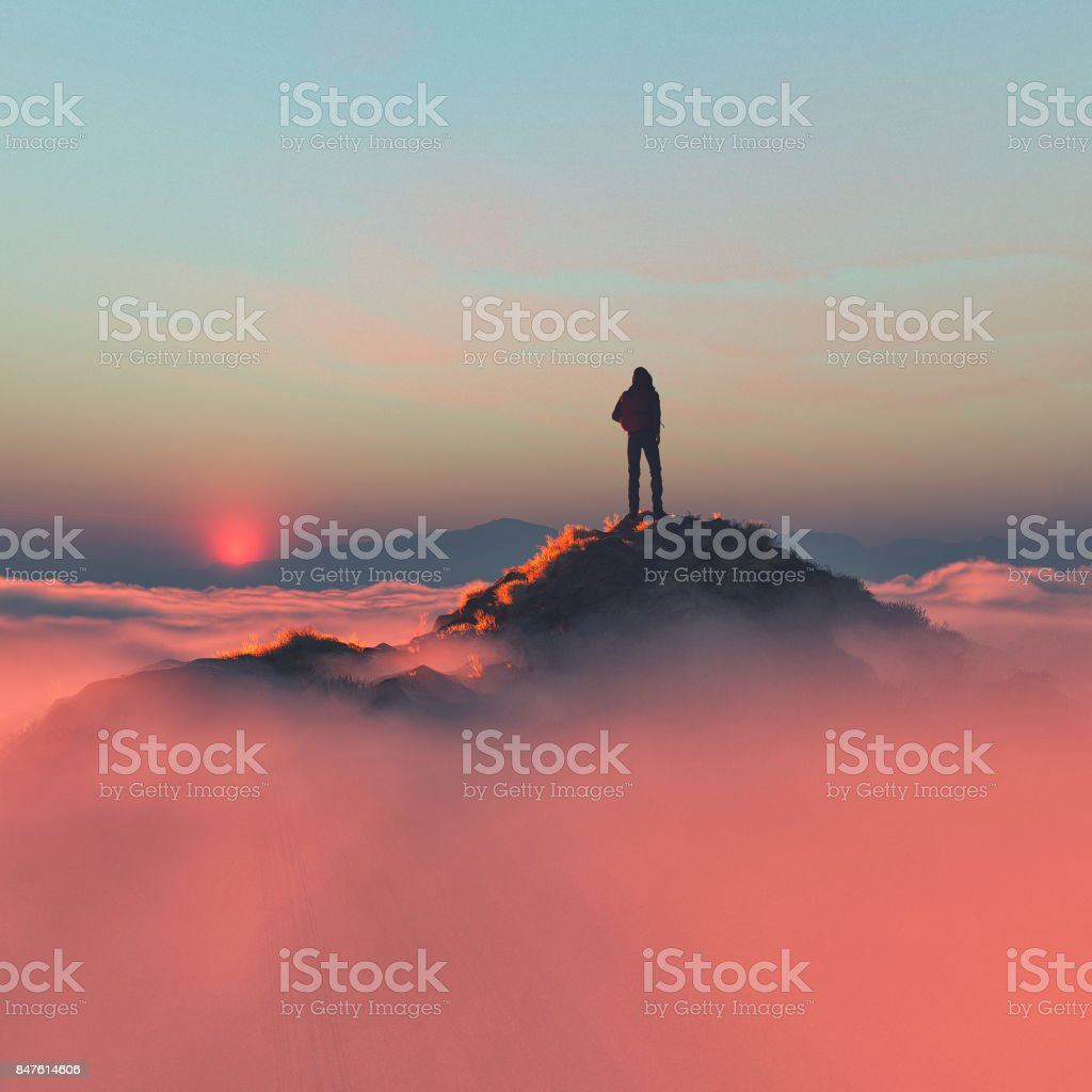 Hiker on the mountain royalty-free stock photo